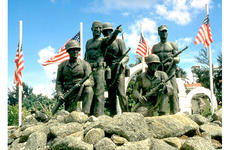 A memorial recognizes American troops who liberated Guam from the Japanese occupation in 1944.