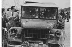 The bullet-riddled truck in which four United Nations Command soldiers — two Americans and two South Koreans — were killed in an ambush at the Korean DMZ in April, 1968.