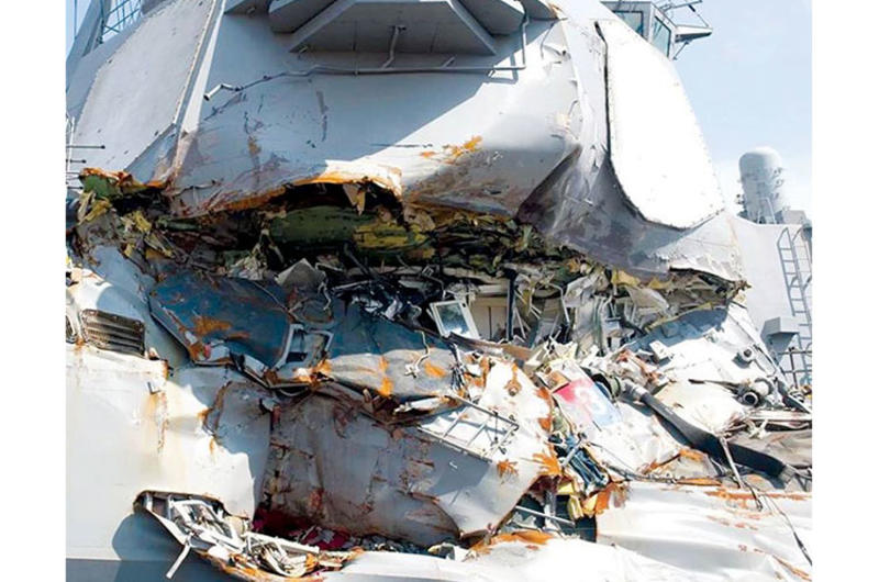 The stateroom of the USS Fitzgerald's stateroom as seen from the exterior of the ship after its collision on June 21, 2017.