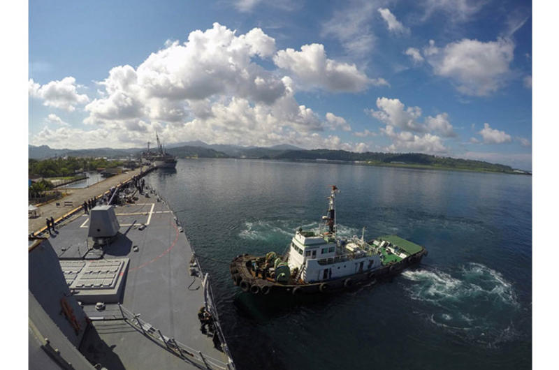 The destroyer USS Lassen arrives in Subic Bay, Philippines, for a port visit on July 1, 2015.